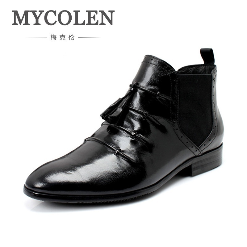 MYCOLEN Chelsea Boots Male Vintage Fashion Tassels Boots Pointed Toe Ankle Boots Leather Winter Dress Shoe For Wedding Party цены онлайн