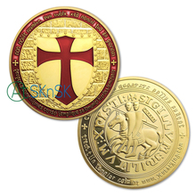 Sample order!1pcs Knights Templar Coin 24k Pure Gold Plated Exclusive Art C shipping