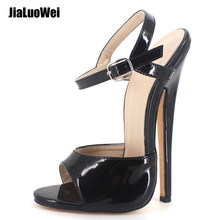 18cm/7 inch High Heel Sandals Women Sexy Ankle Strap Thin High-Heeled Summer Sandals Fashion Party Prom Shoes(China)