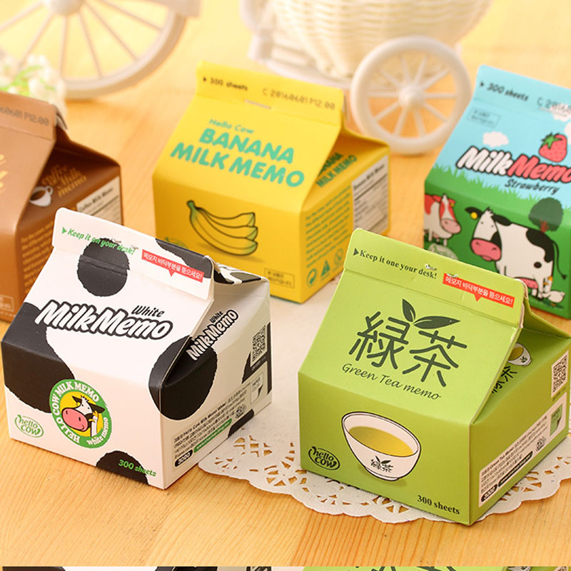JOUDOO 1box Cute Sticky Notes Milk Shape Memo Pad Candy Color Post It Sticky Notes School Office Supplies