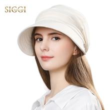 SIGGI Women summer sun hat visor linen bucket packable wide brim UPF50+ uv cap chin strap fashion 89033