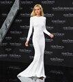 Vestidos de Celebridades branco 2016 Colher Manga Comprida de Cetim Backless Da Sereia Vestido de Festa À Noite Beyonce Red Carpet Vestidos