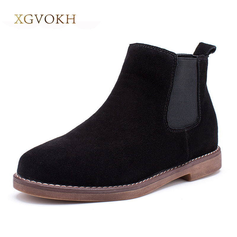 XGVOKH Women Boots Slip On Autumn Winter Fashion Britain style Ankle Boots Square Med Heel Genuine Leather Ladies casual shoes slip on winter boots stretch lycra