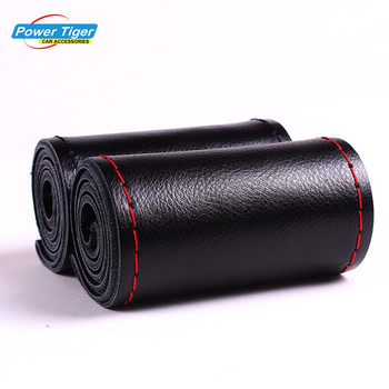 Universal 38cm Anti-Slip Genuine Leather DIY Car Steering Wheel Cover Case With Needles and Thread Cover Car Styling Accessories