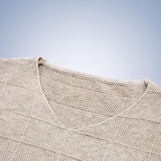 Spring Autumn Knitted  V-Neck  Striped Pullover