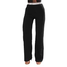 Women Wide Leg Pants Glitter Sequined High Waist Pants Straight Casual Trousers Dance Stage Wear Slim