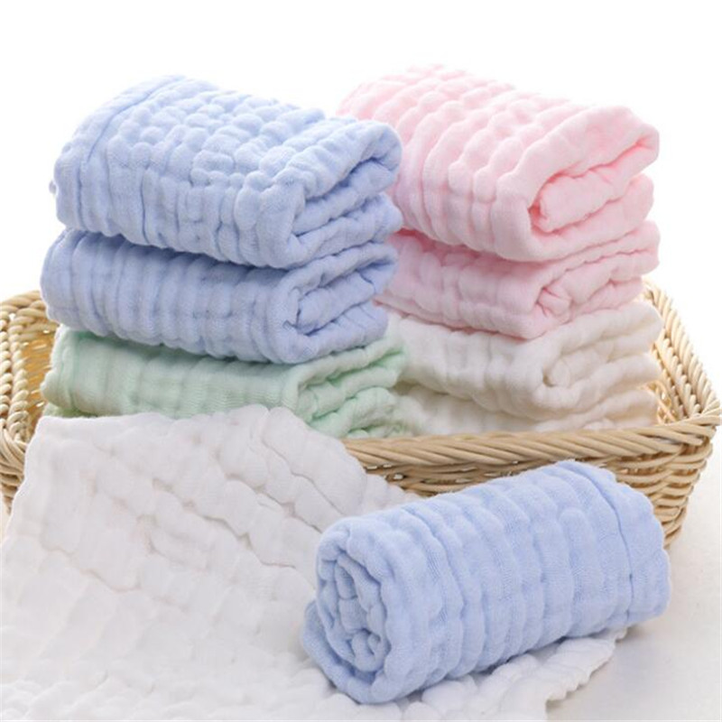 30*30cm 1PC Solid Yarn Cotton Towel For Kids Chidren Six layers of gauze Water-Absorption