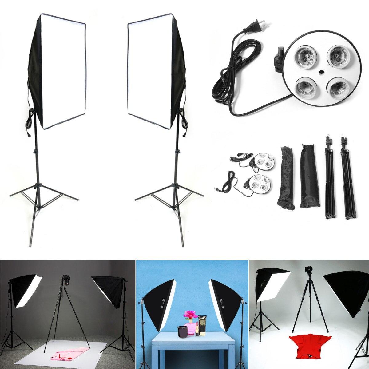 Diffuseur lumière 50X70 cm éclairage continu Softbox pour E27 support de lampe prise avec photographie support de lumière Kit de Studio Photo