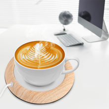 USB Wooden Grain Heat Warmer Heater Milk Tea Coffee Mug Hot Beverage Drinks Cup Cafe Cup Warmer Mat Nice Gift(China)