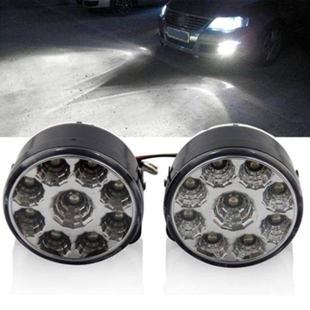 2pcs Super Bright White 9 LED Head Front Round Fog Light for all Car DRL Off-road Lamp Daytime Running Lights Parking Lamp