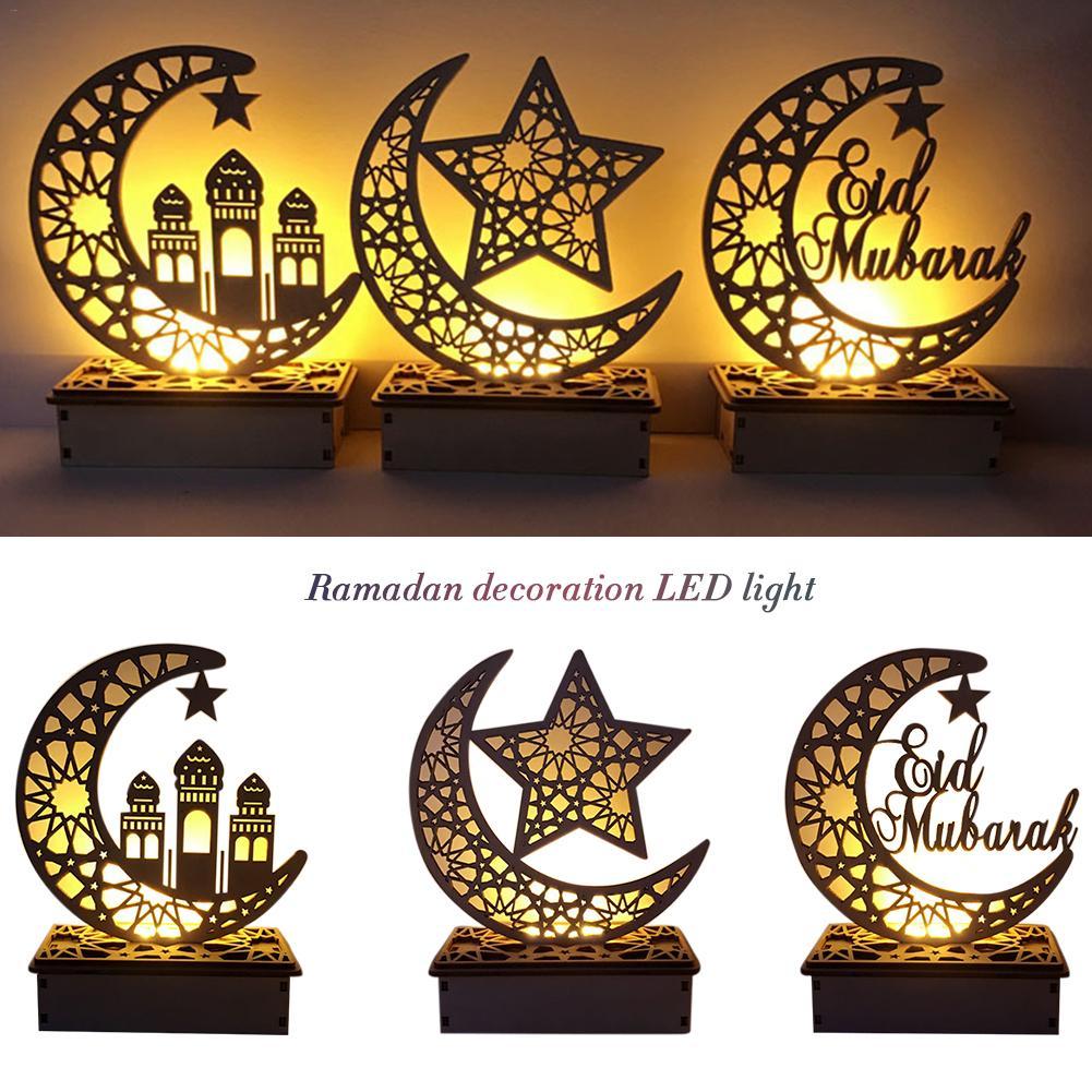 LED Wooden DIY Lamp Festival Palace Decorative Light For Muslim Islam Eid Mubarak Ramadan