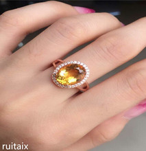 KJJEAXCMY fine jewelry 925 Pure silver inlay natural droplet crystal yellow female style ring nhjerw
