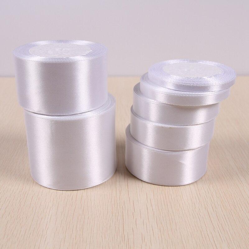 (25 ярдов/рулон) белый одно лицо атласная лента оптовая продажа подарочной упаковки рождественские ленты 01