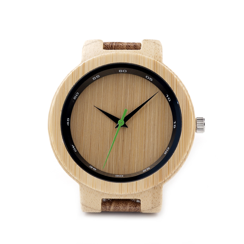 BOBO BIRD D17 Quartz Watches Mens Bamboo Wooden Watch Special Digital Ring with Grain Leather Relogio