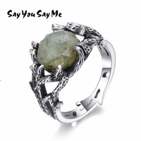 Say You Say Me 925 Sterling Silver Natural Stone Rings Wedding Engagement Jewelry Plants Ring Silver