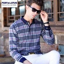 Port&Lotus Men Plaid Polo Shirt  Brand Clothing Imported-clothing Polo brand Long Sleeve  025 men's clothes mens wholesale