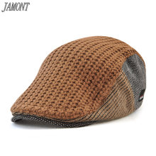 Jamont  Nuevo unisex Otoño Invierno hebilla de la boina sombrero para  hombres mujeres ocio sólido lana punto casquette boina ma. 8e426ec7e14