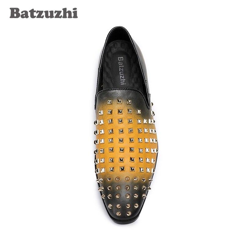 Rock Mode Casual Qualität Schuhe Komfortable Batzuzhi Luxus Hohe Gold Handgemachte Leder Nieten Männer Atmungsaktive RxtWqwpvzT