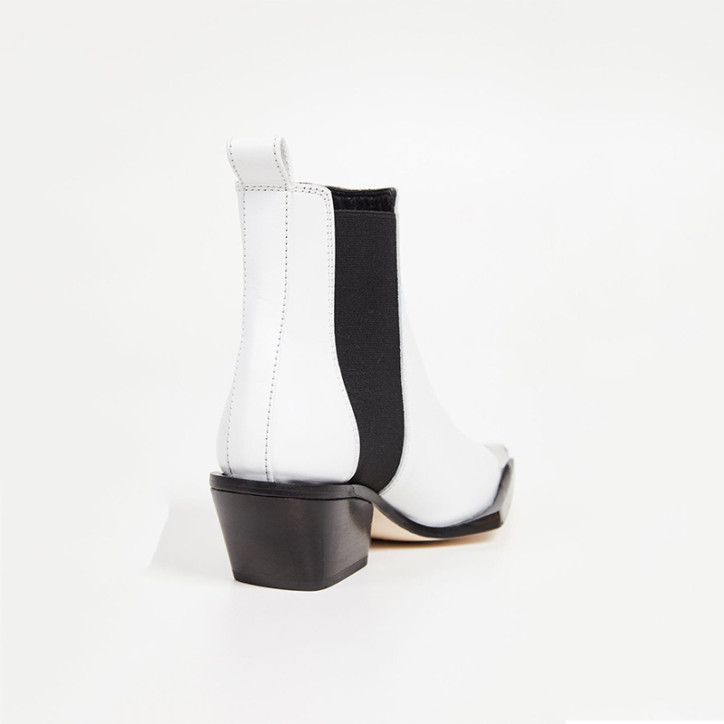 Casual Style Mode Étrange Cuir En Femmes Véritable Talons Bottines D'hiver Bottes Décoration Noir Pointu Bout Métal Sexy blanc Msstor Y0SqzwS
