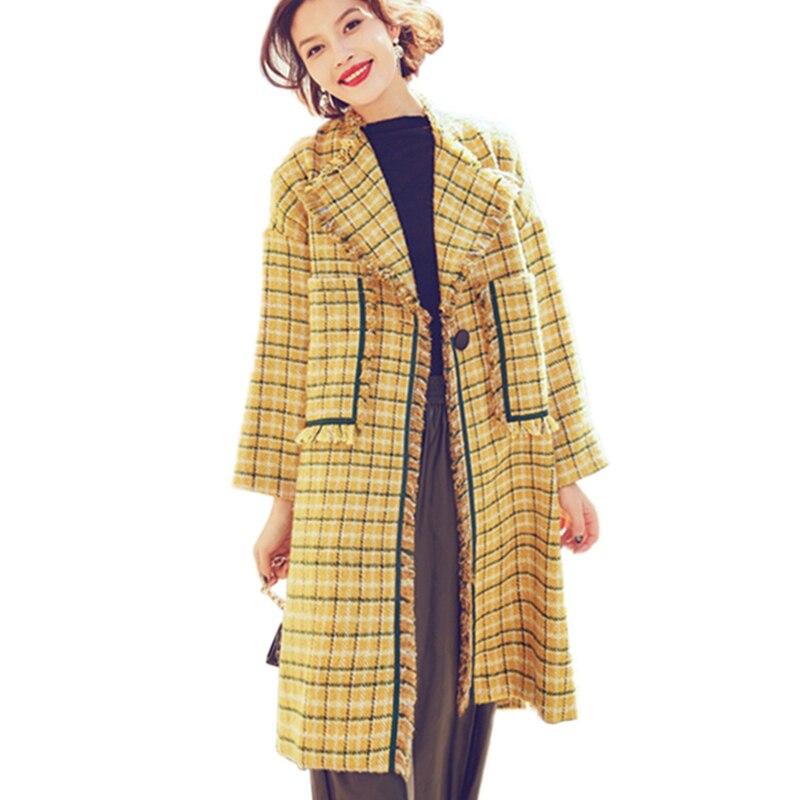 Femmes La Laine Longues De Maxi Vintage Nouvelles Mode Plus Manteau Des Manteaux D'hiver Carreaux Épaissir Taille 2017 Hcy14 Manches Yellow Long Pardessus À Chaud 6FxSzwx