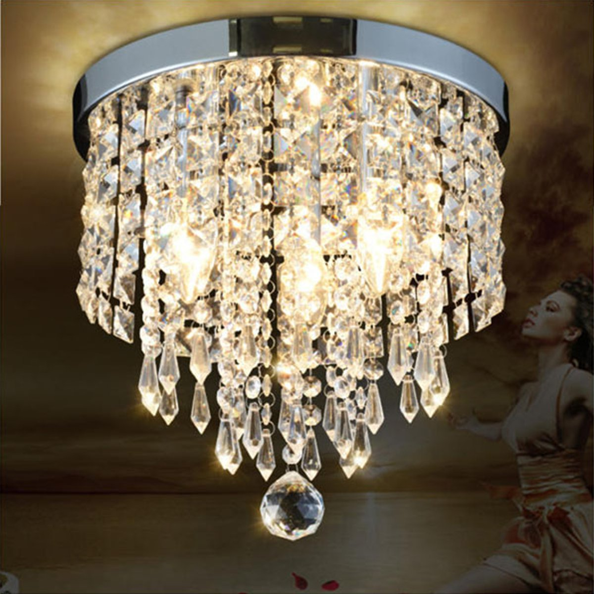 30*28cm LED Crystal Ceiling Lights Lamp Surface Mounted Ceiling Lamp Indoor Lighting Fixture Bedroom Dining Room Decoration|Ceiling Lights| |  - title=