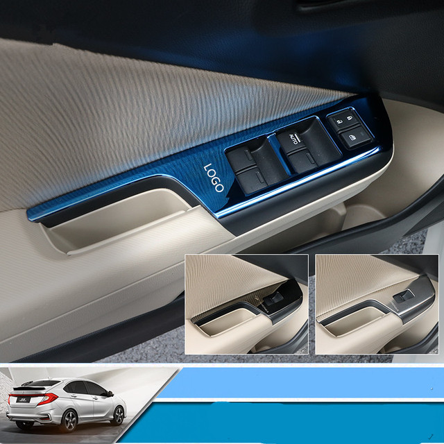 Car Interior Modification Stainless Steel Glasses Switch Frame Cover