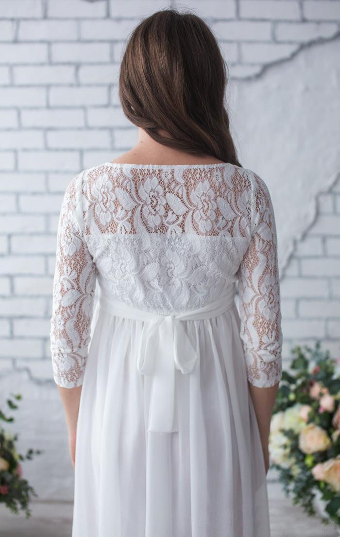 Robe de soirée élégante en mousseline de soie robes enceintes manches longues modestes robes de maternité femmes d'été robe de grossesse longue grande taille - 2