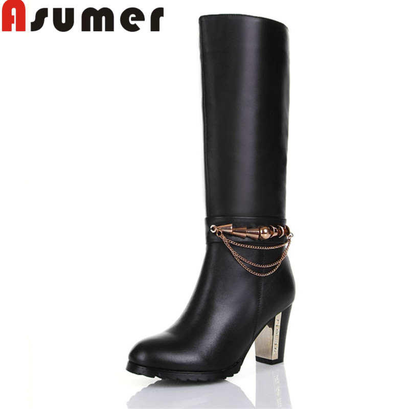 ASUMER 2018 NEW metal decoration simple mid calf boots winter thick heels women boots round toe zip pu+genuine leather bootsASUMER 2018 NEW metal decoration simple mid calf boots winter thick heels women boots round toe zip pu+genuine leather boots