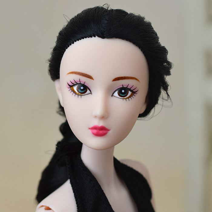 New Original 12″ Nude Naked doll Toy / 14 Joint Movable Flexible / Long Black Stright Hair White Skin For Barbie Doll Gift