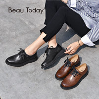 BeauToday Wingtip Brogue Shoes Female Good Quality Genuine Leather Calfskin Fashion Lace Up Women Flats Handmade A21089
