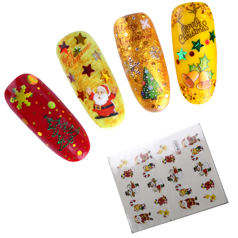 44 Sheets Nail Sticker Winter Santa Claus  1