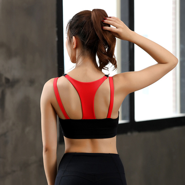 Women Black Sports Bra Hit Color Fitness Tops Backless Athletic Tank Active Wear Sport Clothes Running Tank Top Women Sport Sexy 2