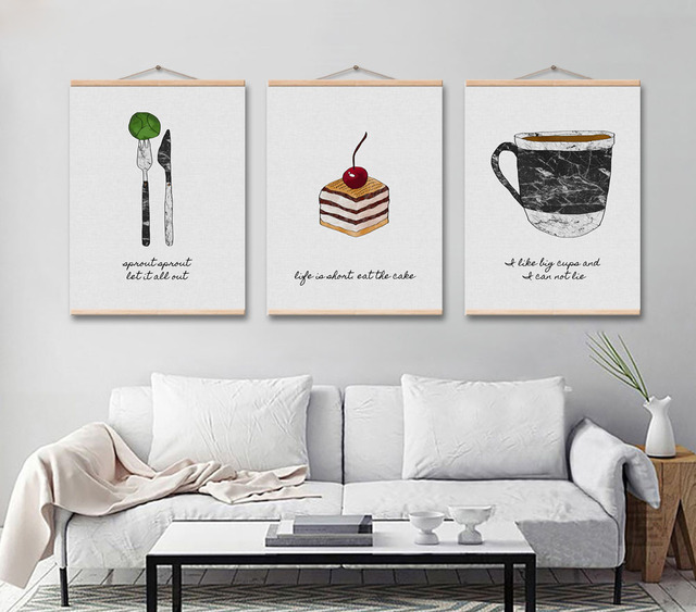 Nordic Modern Fork Knife Coffee Cake Painting Minimalist Artwork Printing Poster Kitchen Room Decoration Framed Picture
