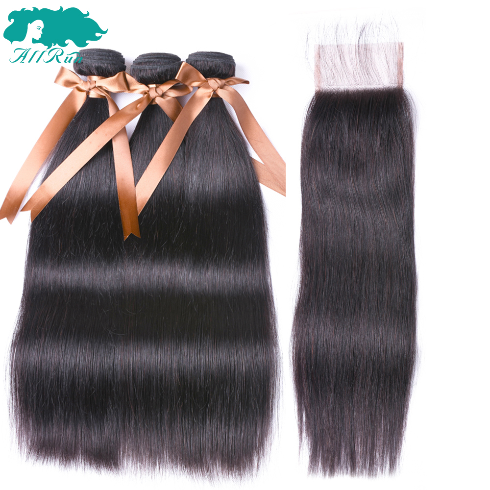 ALLRUN Hair Malaysian Straight Bundles With Closure Pre-colored 100% Non-Remy Human Hair 3 Bundles With 4*4 Lace Closure