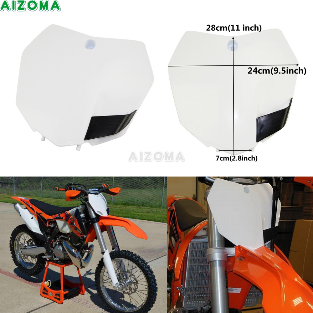 White Front Number Plate For KTM SX XC SXS EXC XCW XCF SXF XCFW  85 125 150 250 350 450 500 Motocross Dirt Bike Holder 2013-2016