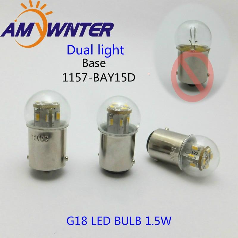 Mini bulb, G18 dipimpin fungsi cahaya ganda, 12 24 V 1157 lampu sepeda motor, Peralatan lampu sinyal, Auto sumber cahaya, Lampu bohlam belakang