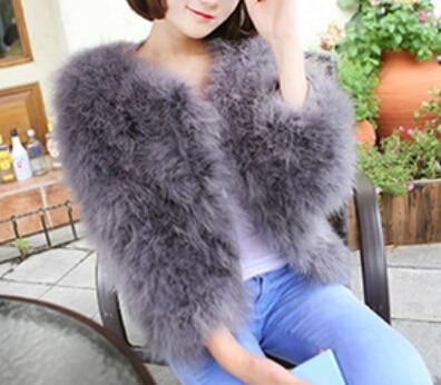 Nouveauté mode manteau de fourrure véritable Ostirch femmes hiver chaud fourrure d'autruche col rond manteau livraison gratuite FP614