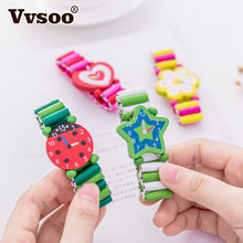 Vvsoo Kids Bracelet Fake Wooden Watch Baby Shower Girl Boy Birthday Party Favor Souvenir Pinata Fillers Christmas Gifts(China)