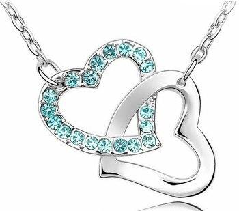 Rhinestone Double Heart pendant necklace 3