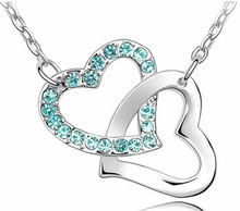 Free Shipping Gift Wholesale fashion jewelry top quality Czech drilling AAAA+ rhinestone 8 colors Necklace Double Heart pendant