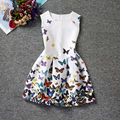 Robe Fille Enfant Girls Dresses Summer 2017 Big Girl Casual Dresses Sleeveless Butterfly Print Retro Dress Vetement Fille 12 Y
