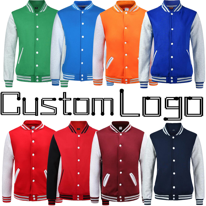 Custom Print Logo College Baseball Jacket Men Women Letterman Varsity Coat Green Orange Navy Blue Maroon Red Boy Girl