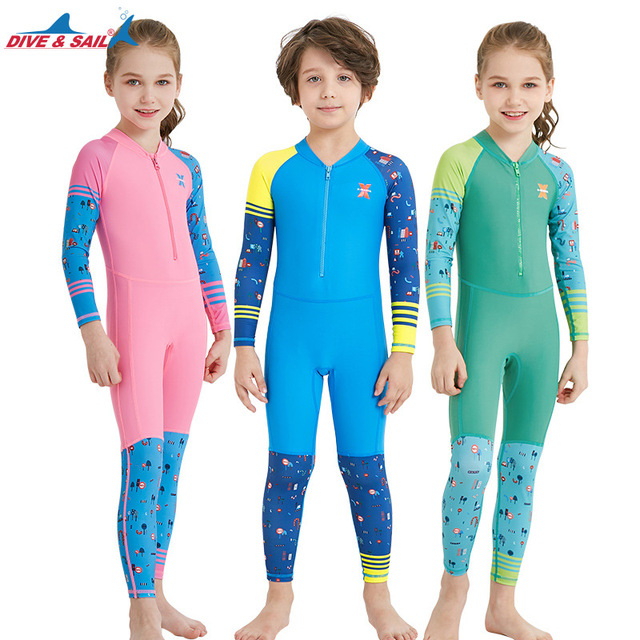 4150bf7742 DIVE&SAIL One-piece Child Quick-dry Swimwear Swimsuits Rushguard Scuba  Diving Suit Boys Girls