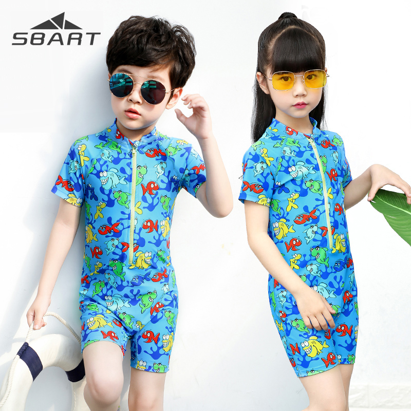 Sbart Boy Girl Short Sleeve Swimming Suit One-piece Swimwear for Children Kids Elastic Quick dry UV Protection Lycra Swimsuit