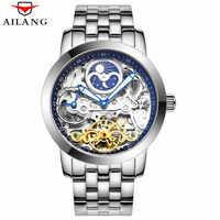 Squelette hommes montre mécanique automatique creux Tourbillon montres mode homme étanche 50 M Sport lune Phase horloge Relogio 2019