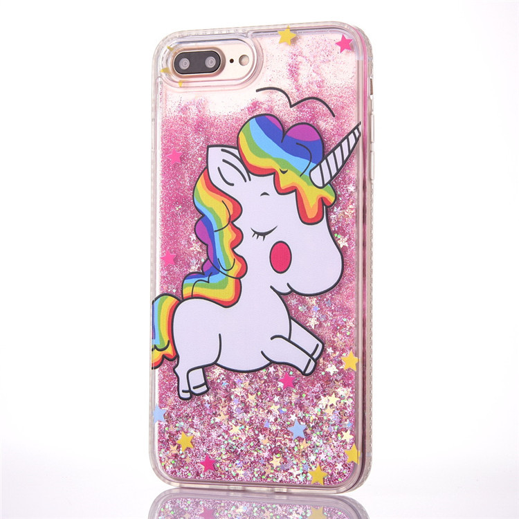Merry Christmas Decorations Unicorn Star Quicksand Phone Cases Back
