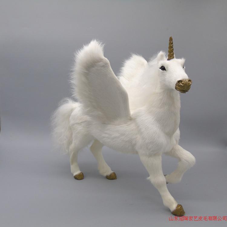 Grande simulation licorne jouet polyéthylène & fourrures nouvelles ailes licorne modèle environ 32x28x34 cm 206