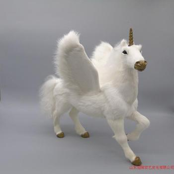 big simulation unicorn toy polyethylene & furs new wings unicorn model about 32x28x34cm 206