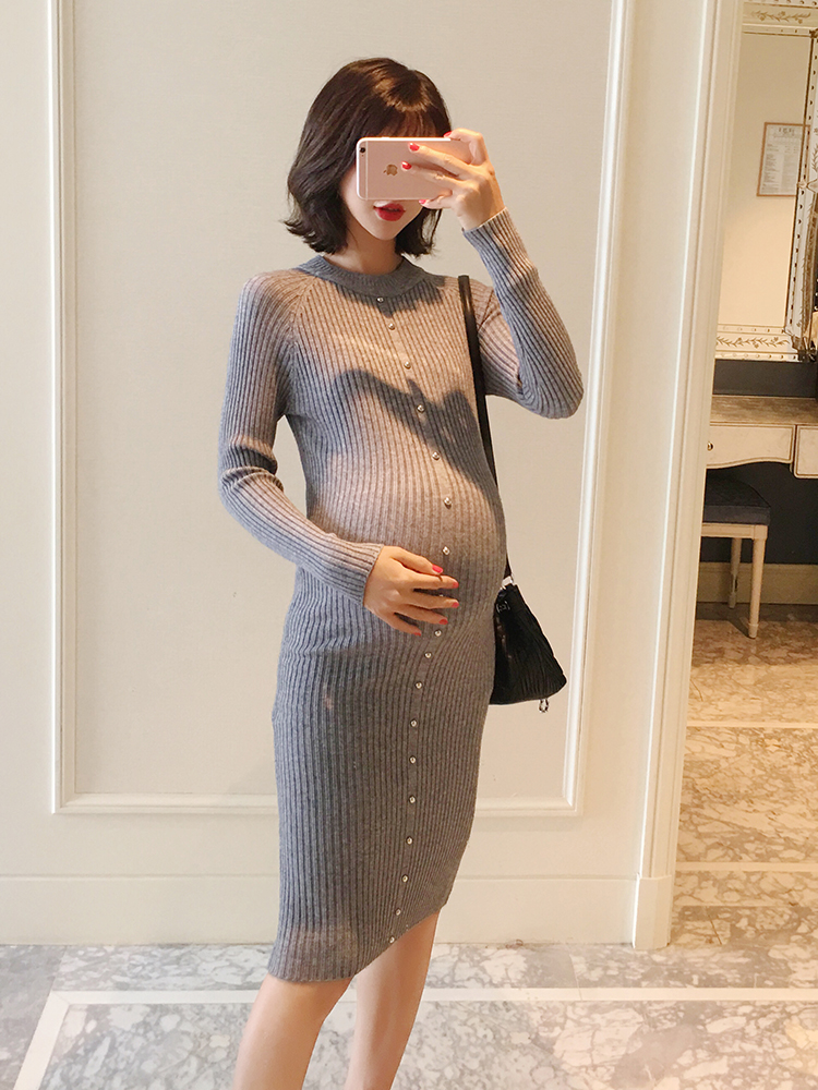 Maternity wear autumn 2018 new pregnant women long-sleeved dress was thin winter knit bottom skirt fashion цена