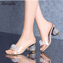 PVC Jelly Sandals Women Crystal Peep Toe High Heels shoes Cr
